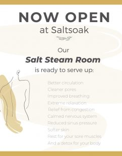 Saltsoak Salt Steam Room now open